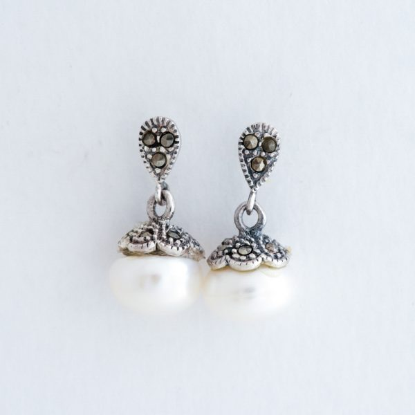 Cercei argint perla marcasite