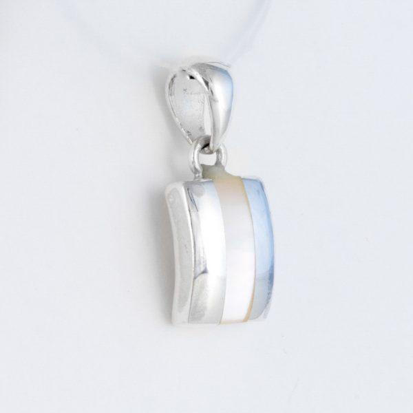 Pandantiv argint sidef alb dreptunghiular