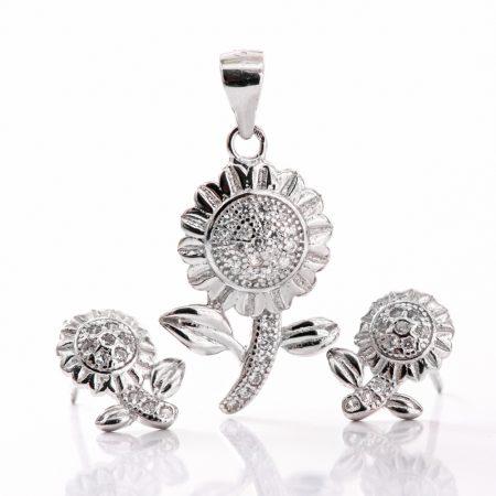 Set argint (Cercei si pandantiv) floare zirconii cubice