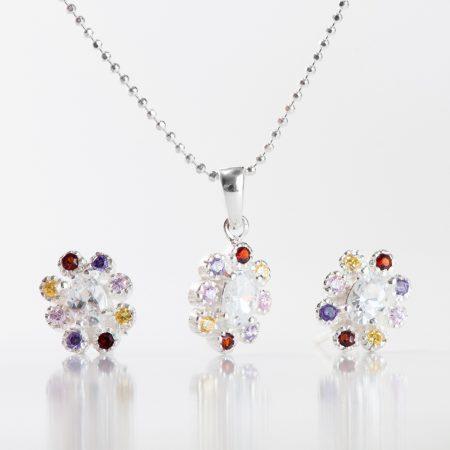 Set argint (cercei si pandantiv) floare zirconii cubice multicolore