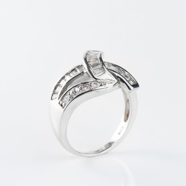 Inel argint funda zirconii cubice albe