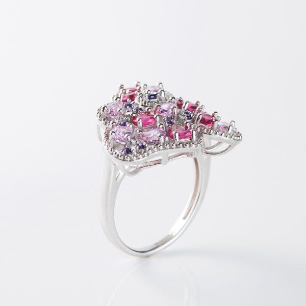 Inel argint zirconii multicolore roz