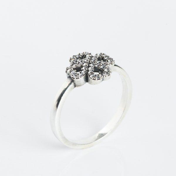 Inel argint trifoi zirconii cubice