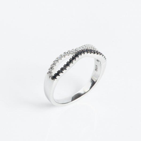 Inel argint zirconii cubice alb-negru