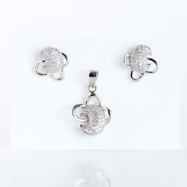 Set argint (Cercei si pandantiv) zirconiu luna