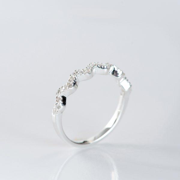 Inel argint zirconii cubice ondulat