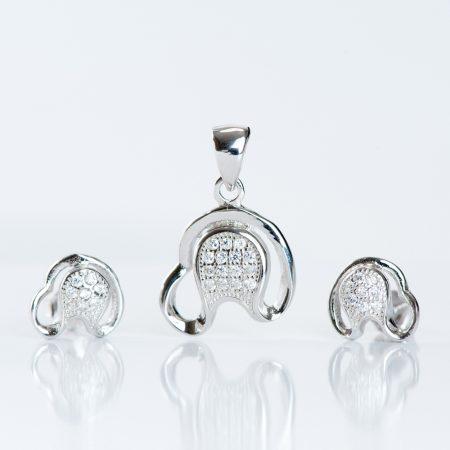 Set argint (Cercei si pandantiv) zirconiu cubic potcoava