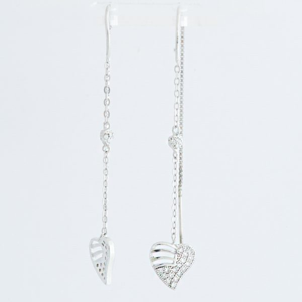 Cercei argint inimioara zirconiu cubic