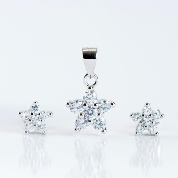 Set argint (Cercei si pandantiv) zirconiu cubic floare cinci petale