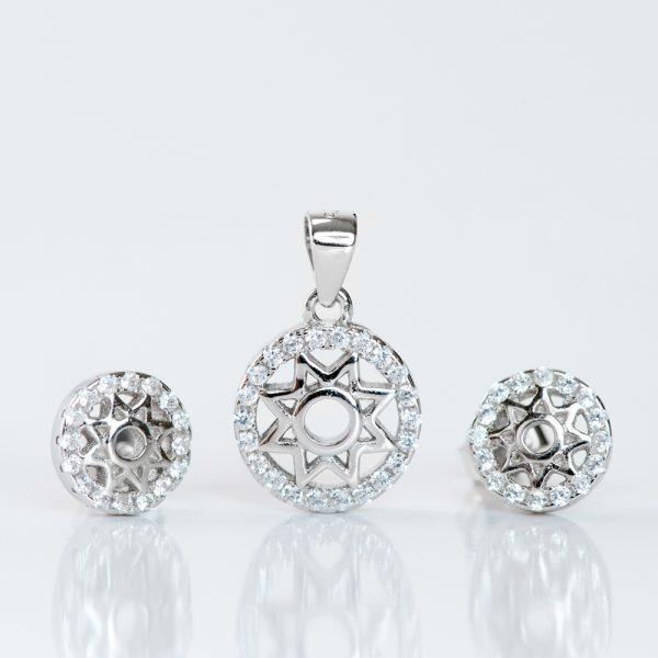Set argint (Cercei si pandantiv) zirconiu cubic rozeta