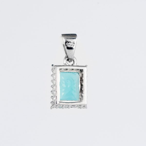 Pandantiv argint zirconiu cubic bleu