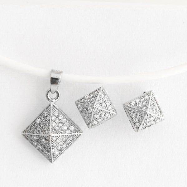 Set argint (Cercei si pandantiv) piramida zirconii cubice