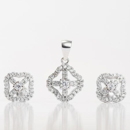 Set argint (Cercei si pandantiv) zirconii cubice