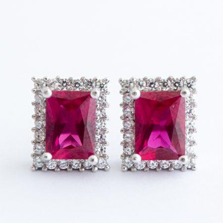 Cercei argint zirconiu cubic rosu