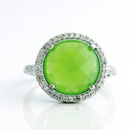 Inel argint zirconiu cubic verde