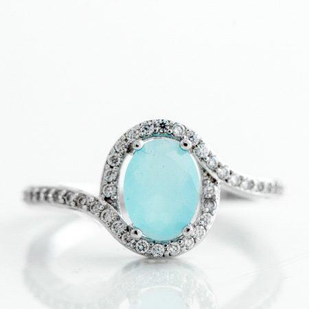 Inel argint zirconii cubice bleu