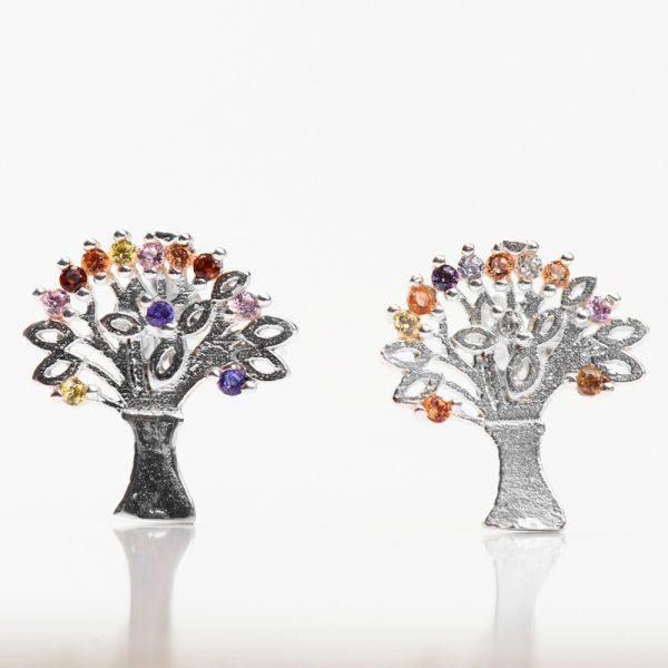Cercei argint arborele vietii multicolor
