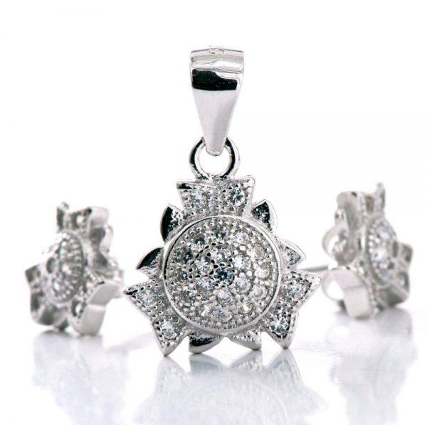 Set argint (Cercei si pandantiv) floarea soarelui zirconii cubice