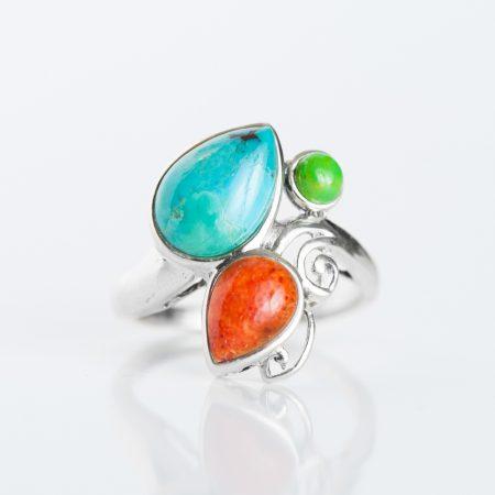 Inel argint pietre semipretioase tricolor