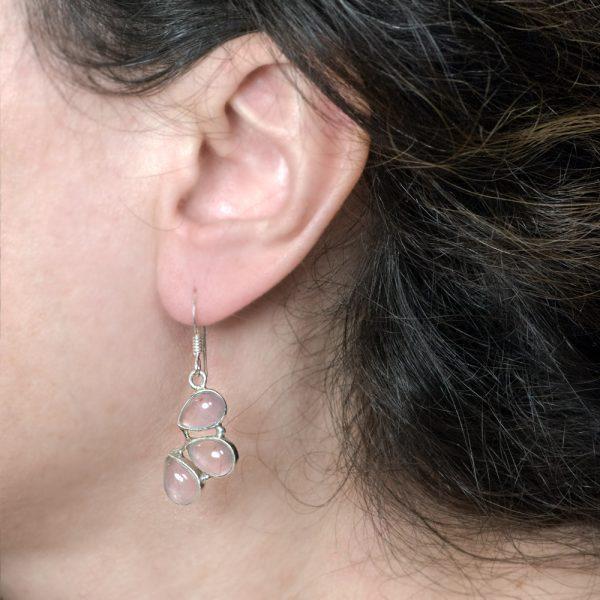 Cercei argint cuart roz petale