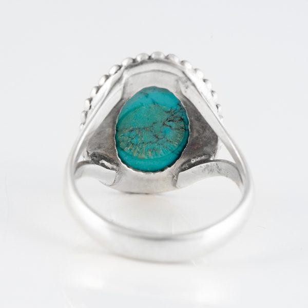 Inel argint turcoaz reconstituit oval