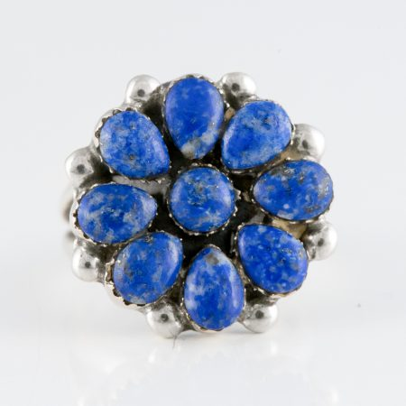 Inel argint floare laspis lazuli