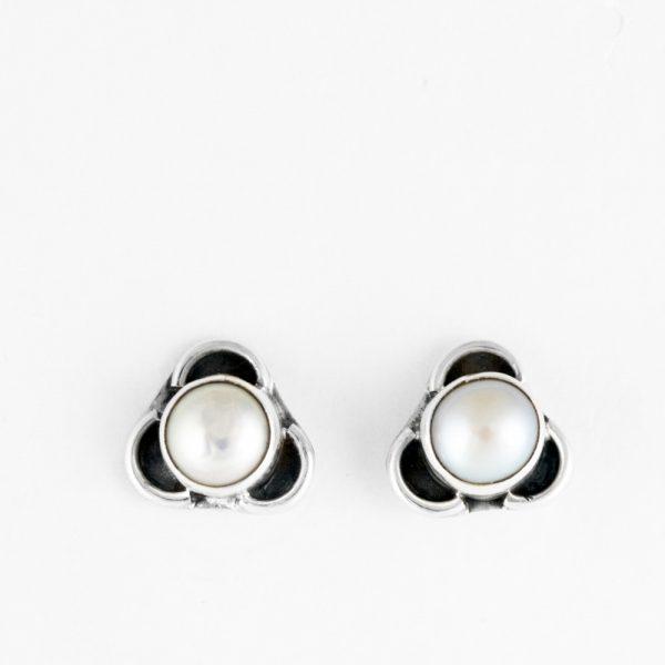 Cercei argint trifoi perla