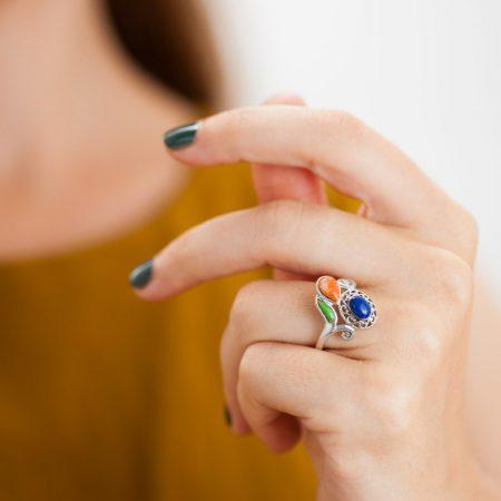 Inel argint pietre semipretioase lapis lazuli rama