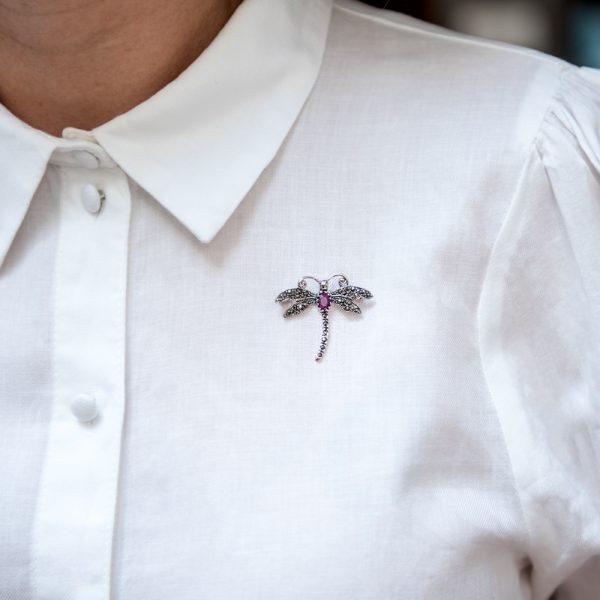 Brosa argint libelula marcasite rubin