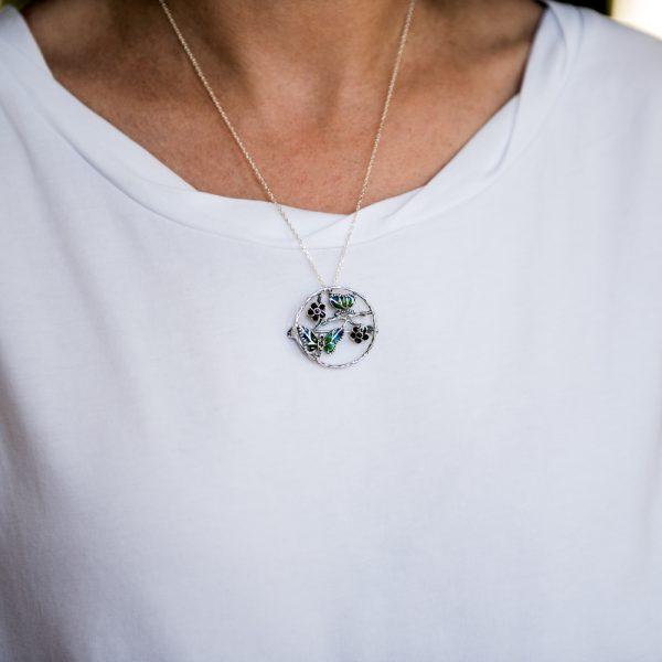 Brosa argint Art Nouveau flori