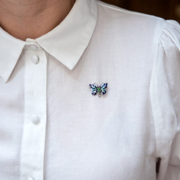 Brosa argint fluture mic albastru smarald