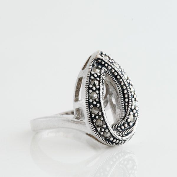 Inel argint picatura marcasite