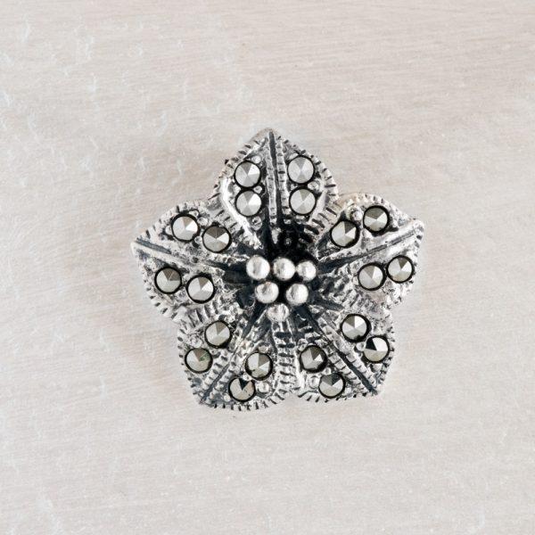 Pandantiv argint floare marcasite