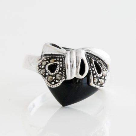 Inel argint inima onix
