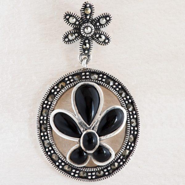 Pandantiv argint floare onix marcasite