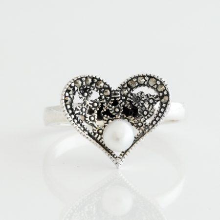 Inel argint inimioara marcasite perla