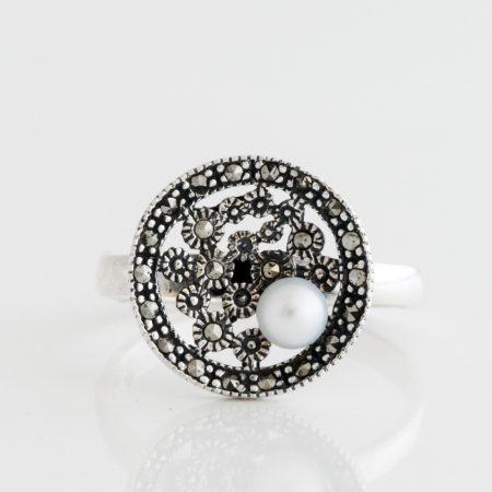 Inel argint disc marcasite perla