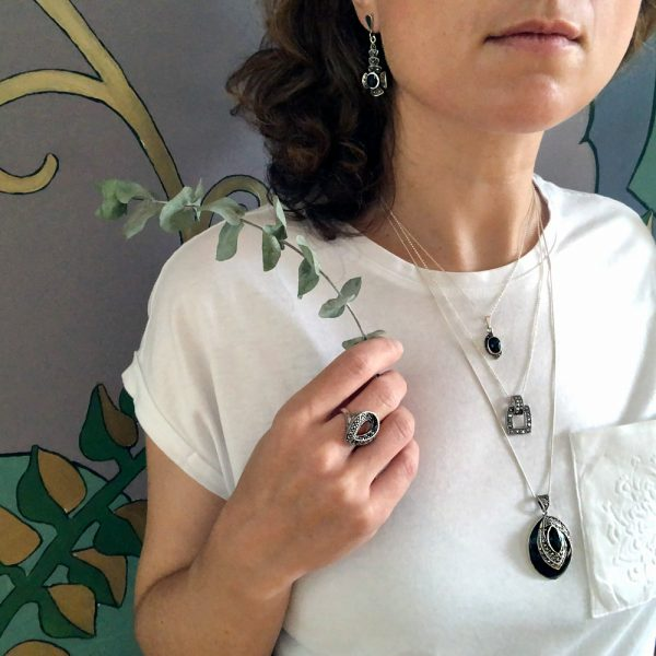 Pandantiv argint dreptunghi marcasite