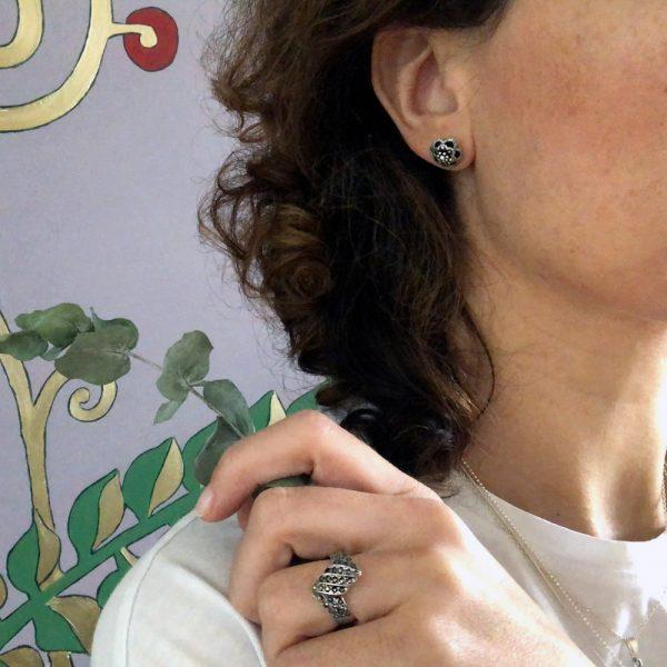 Inel argint zig-zag marcasite