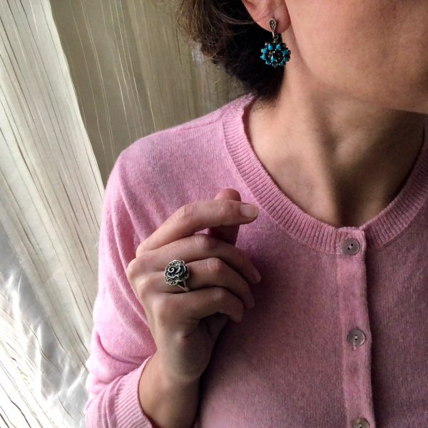 Inel argint trandafir marcasite
