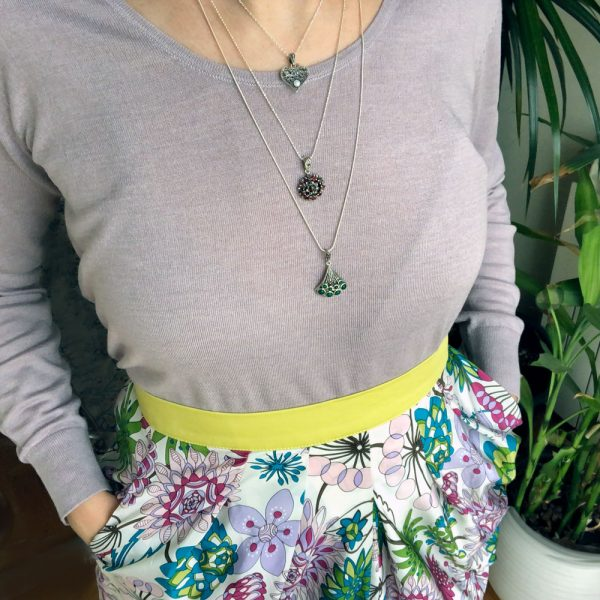 Pandantiv argint evantai agat verde