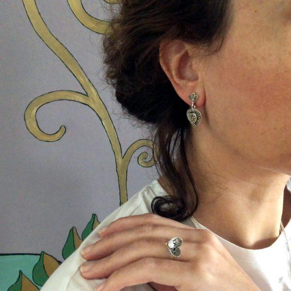 Cercei argint marcasite inimioare
