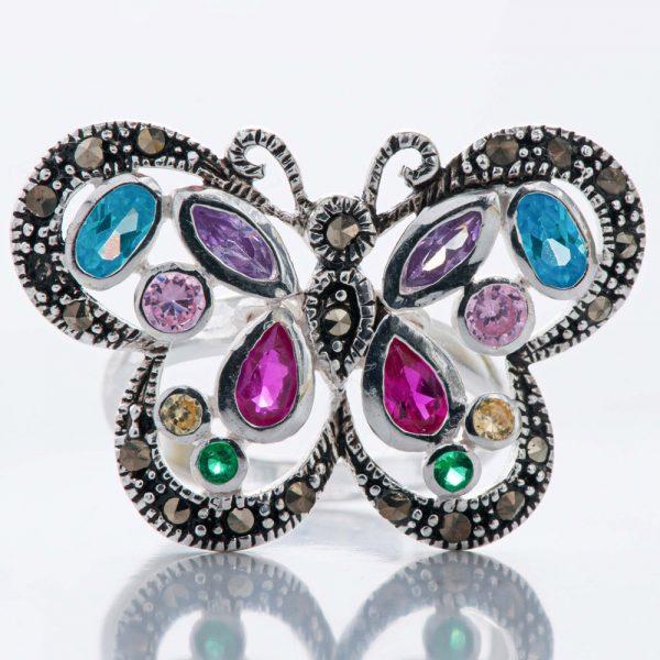 Inel argint fluture marcasite si zirconii cubice
