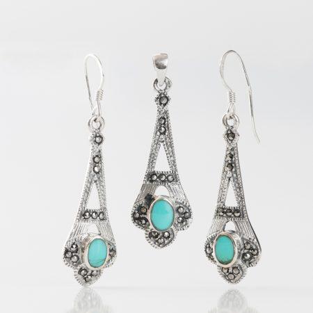 Set argint (Cercei si pandantiv) marcasite email bleu