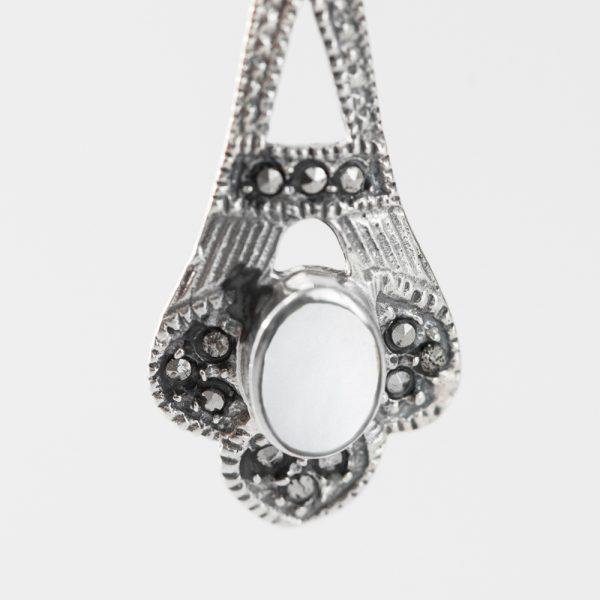 Set argint (Cercei si pandantiv) marcasite sidef