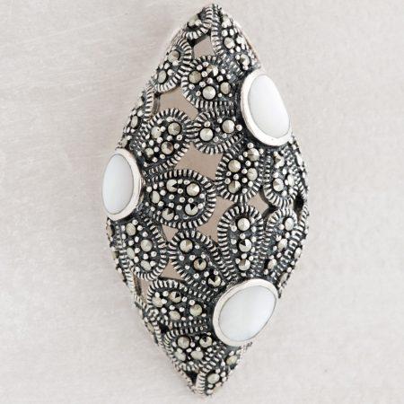 Pandantiv argint elipsa marcasite si sidef