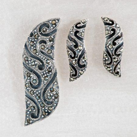 Set argint (Cercei si pandantiv) marcasite baroc