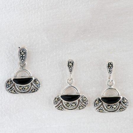 Set argint (Cercei si pandantiv) onix si marcasite
