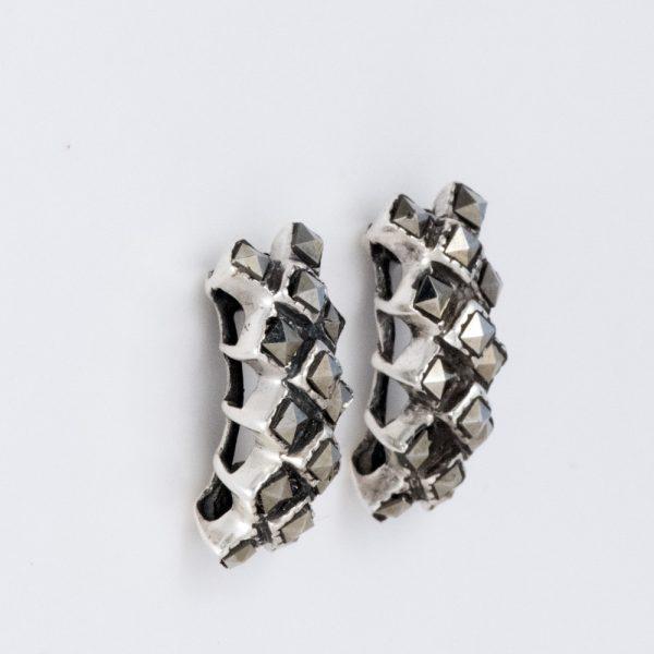 Cercei argint marcasite romburi