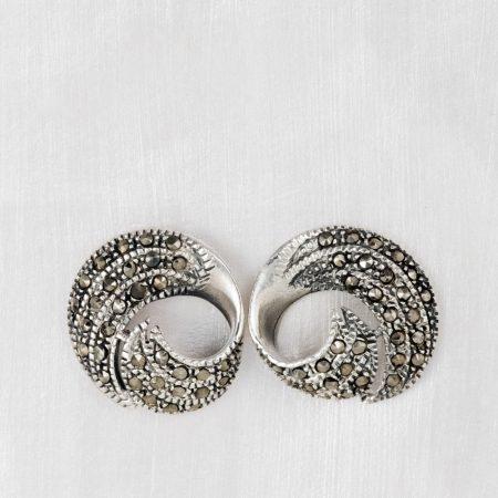 Cercei argint spirala marcasite
